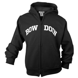 Front view of children's black full-zip hood with white arched BOWDOIN imprint across chest. BOW is on one side of the zipper, and DOIN is on the other.