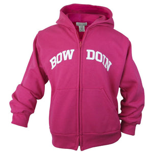 Front view of children's hot pink full-zip hood with white arched BOWDOIN imprint across chest. BOW is on one side of the zipper, and DOIN is on the other.