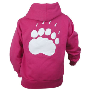 Back view of children's hot pink hood showing large white paw print on back.
