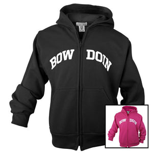 Montage of black and pink children's Bowdoin hoodies.