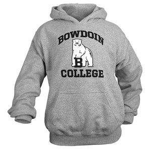 Long-sleeved hooded sweatshirt with arched BOWDOIN in black over polar bear mascot over the word COLLEGE.