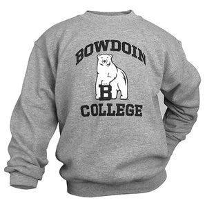 Oxford gray crewneck sweatshirt with arched BOWDOIN in black over polar bear mascot over the word COLLEGE.