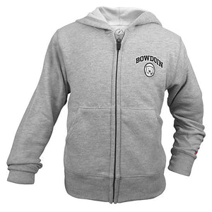 Oxford heather full-zip hood with arched BOWDOIN in black with white outline over polar bear mascot medallion on left chest.