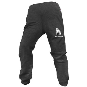Charcoal heather fleece sweatpants with white imprint of polar bear mascot over BOWDOIN on left leg. Closed cuffs.