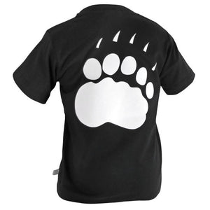 Back view of a children's black T-shirt with large polar bear paw print imprinted in white on the back.