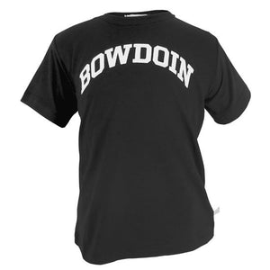 Children's black T-shirt with arched BOWDOIN imprint in white on the chest.