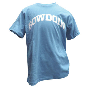 Children's light blue T-shirt with arched BOWDOIN imprint in white on the chest.