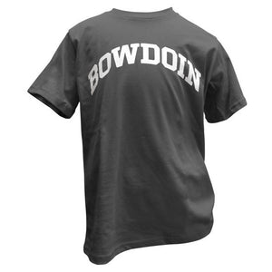 Children's smoke gray T-shirt with arched BOWDOIN imprint in white on the chest.