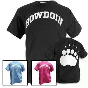Montage of black, blue, and pink Bowdoin T-shirts with a shot of the back of the black T-shirt showing a large paw print.
