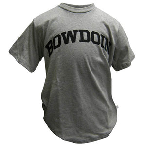 Children's Oxford gray T-shirt with arched BOWDOIN imprint in black on the chest.
