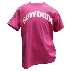 Children's fucshia pink T-shirt with arched BOWDOIN imprint in white on the chest.