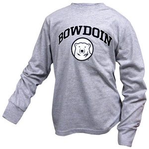 Children's heather gray long-sleeved tee with arched BOWDOIN imprint in black with white stroke over a black and white mascot medallion.