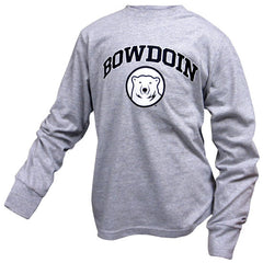Youth Long-Sleeved Tee with Bowdoin & Bear Medallion from Champion