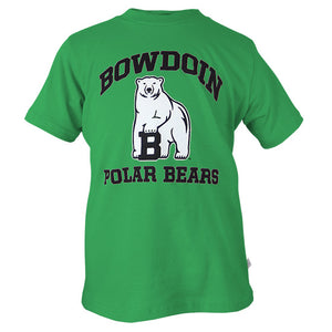 Bright green short-sleeved T-shirt with chest imprint of black arched BOWDOIN over polar bear mascot over black POLAR BEARS.