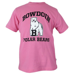 Pink short-sleeved T-shirt with chest imprint of black arched BOWDOIN over polar bear mascot over black POLAR BEARS.