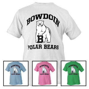 Montage of different colors of youth Polar Bears tee.