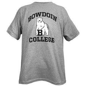 Heather grey T-shirt with black BOWDOIN arched over white polar bear mascot over the word COLLEGE in black.