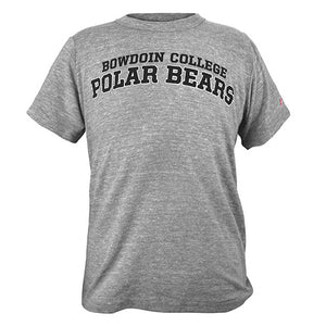 Heather grey short-sleeved tee with BOWDOIN COLLEGE in black over larger POLAR BEARS in black with white outline.
