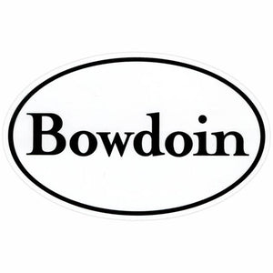White oval decal with BOWDOIN wordmark and black border.