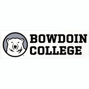 White bumper sticker with polar bear mascot medallion on a gray background on the left and the words BOWDOIN COLLEGE in black stacked to the right of the medallion.