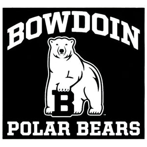 Black square decal with white imprint of the word BOWDOIN arched over a polar bear mascot over the words POLAR BEARS.