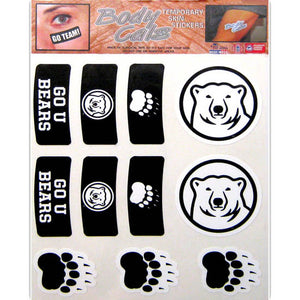 Set of 11 stickers to put on skin. Two are polar bear medallions, three are paw prints, and then there are two of each in curved black to look like makeup under a football player's eyes. Those designs are a paw print, a polar bear medallion, and the text GO U BEARS