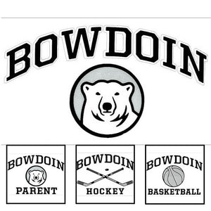 Montage of four BOWDOIN vinyl transfer decals.