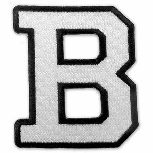 Black and white embroidered Bowdoin B patch.