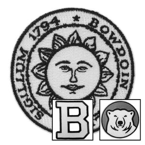Montage of Bowdoin insignia patches.