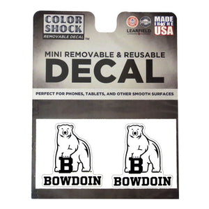 Set of 2 mini decals with polar bear mascot over BOWDOIN.