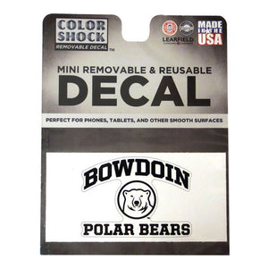 Single mini decal with arched BOWDOIN over medallion over POLAR BEARS.