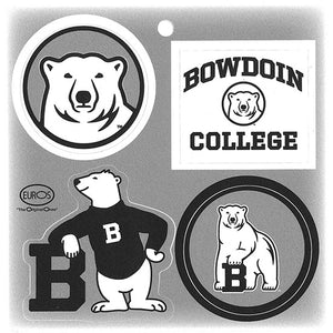 Four small Bowdoin decals in black, white, and gray on one sheet: the Bowdoin polar bear mascot medallion, BOWDOIN COLLEGE and mascot medallion, the Bowdoin spirit bear, and the Bowdoin polar bear mascot.