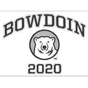Clear decal with black BOWDOIN arched over a polar bear medallion over the letters 2020. There is a white stroke around the text.