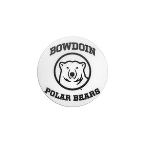 Small round white decal with black imprint of BOWDOIN arched over mascot medallion, and POLAR BEARS arched underneath.