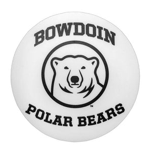 Round white decal with black imprint of BOWDOIN arched over mascot medallion with POLAR BEARS arched underneath.