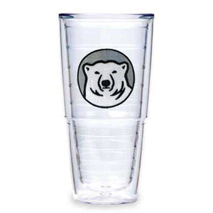 24-oz clear double-walled insulated plastic tumbler with embroidered mascot medallion patch.