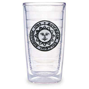 Clear insulated plastic tumbler with embroidered Bowdoin sun seal patch between layers.