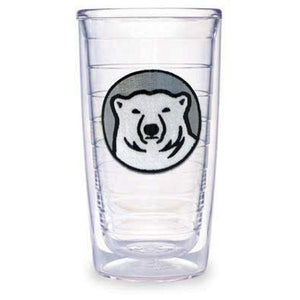 Clear plastic double-walled insulated tumbler with embroidered mascot medallion patch.