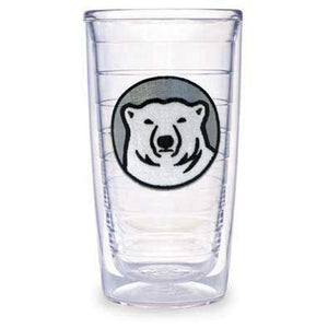Clear insulated plastic tumbler with embroidered Bowdoin polar bear medallion patch between layers.