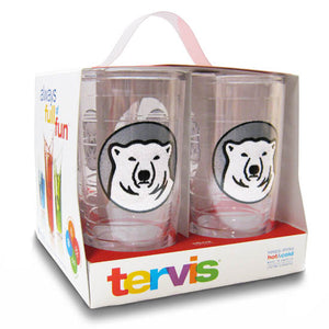Boxed set of clear plastic insulated tumblers with mascot medallion patch.