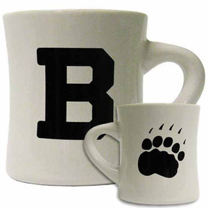 Montage of front and back of an off-white diner mug, showing one side imprinted with a large B and the other with a large polar bear paw print.