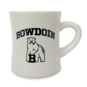 Off-white diner mug with black imprint of arched BOWDOIN over polar bear mascot.