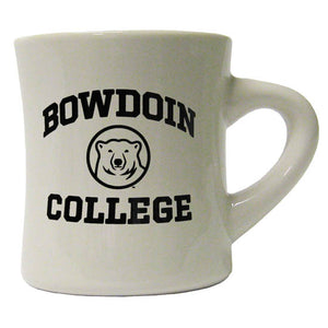 Off-white diner mug with black imprint of arched BOWDOIN over polar bear medallion over the word COLLEGE.