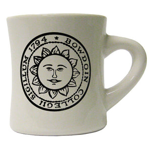 Off-white diner mug with black imprint of the official Bowdoin College sun seal.