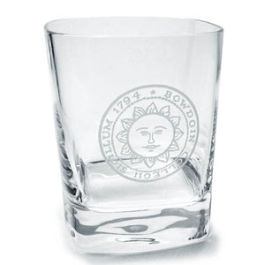Clear square glass with rounded corners and engraved Bowdoin College seal.