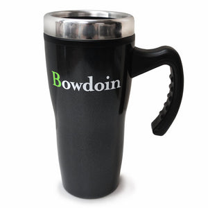 Charcoal black travel mug with stainless rim and black plastic handle. Imprint of Bowdoin wordmark with a bright green B and OWDOIN in white.