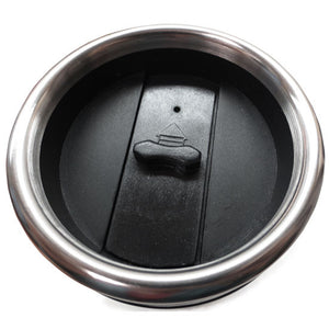 Travel mug lid detail showing stainless rim and black plastic top with slide to open.