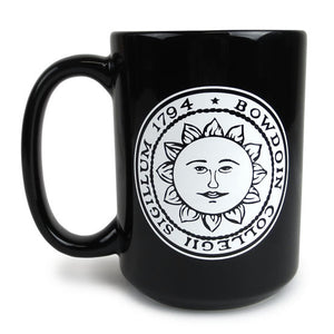 Bowdoin family medallion mug reverse view with sun seal.