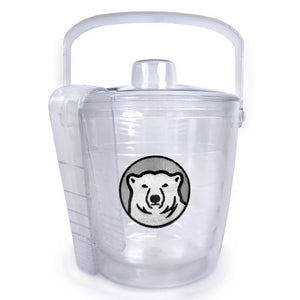 Clear plastic ice bucket with lid and tongs, Bowdoin polar bear medallion patch decoration. Shot shows tongs slotted into lid for convenient storage.