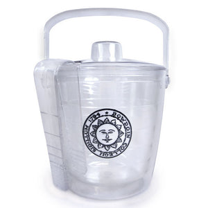 Clear plastic ice bucket with lid and tongs, Bowdoin sun seal patch decoration. Shot shows tongs slotted into lid for convenient storage.